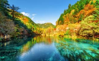 nature, autumn, nature, Цзючжайгоу, China, Park, trees, the lake, China