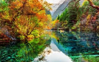 nature, autumn, Цзючжайгоу, Park, nature, China, forest, trees, the lake, reflection