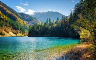 nature, autumn, the lake, water, WEATHER, Цзючжайгоу, China, Park, mountains, forest, trees