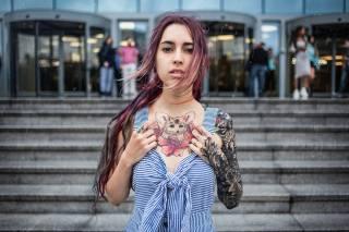 holka, tetování, portrét