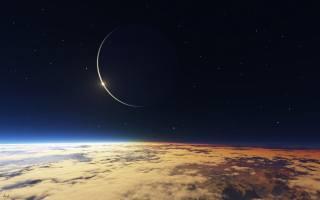 атмосфера, Галактика, облака, звёзды, космос, земля