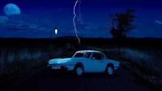 noc, blesk, Auto, cesta, svítilna