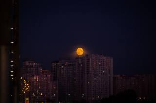 město, noc, měsíc