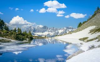 гори, сніг, озеро