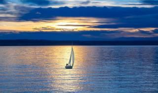 вечір, захід, озеро, човен, вітрило
