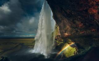 краєвид, хмари, природа, скелі, водоспад, веселка, Ісландія, Сельяландсфосс, Сюдюрланд