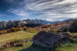 Spain, mountains, the sky, home, asturias, Ponga, clouds, roof, nature