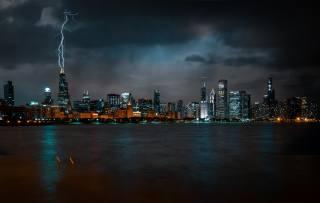 Чикаго, ніч, хмарочоси, мегаполіс, Грім