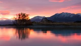 нова зеландія, озеро, гори, захід, будинок, дерева