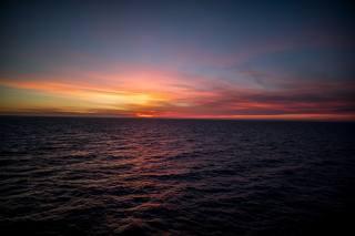 захід, горизонт, океан, природа