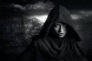 holka, černé a bílé pozadí, obraz