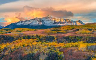 autumn, America, clouds, USA, nature, forest, trees, landscape, mountains, snow