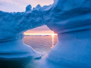 льодовик, лід, море, захід