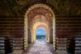 oblouk, tunel, moře, nebe