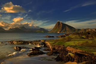 море, горы, небо, облака