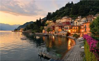 Італія, місто, озеро, берег, набережна, вдома, вечір, захід