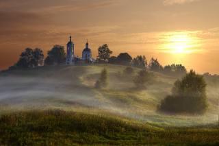 summer, trees, landscape, nature, fog, dawn, village, morning, hill, the Church, Григорий Бельцев, горицы
