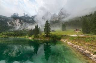 clouds, landscape, mountains, nature, fog, Austria, Forest, the lake, Gosausee
