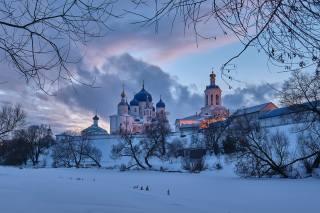зима, сніг, дерева, краєвид, гілки, природа, храм, КУЩІ, купола, Григорий Бельцев, село Боголюбово