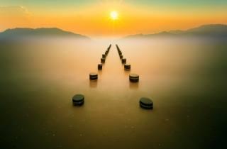 сонце, небо, море, лід, туман, краєвид