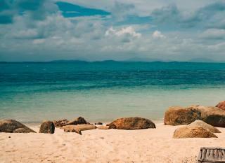 океан, прибій, пляж, пісок, небо